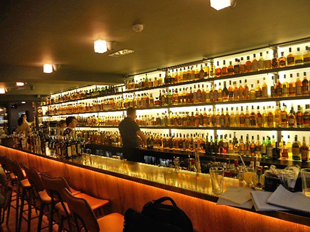Whiskey bar, newly opened, stocked